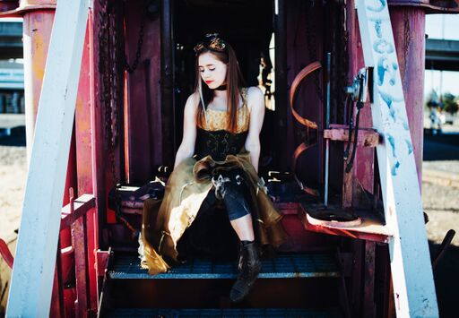 Steampunk dress on a train